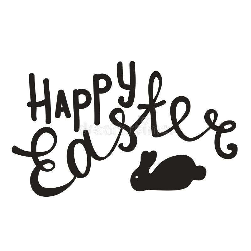 Szczęśliwy Wielkanocnego jajka literowanie na białym tle ilustracja wektor