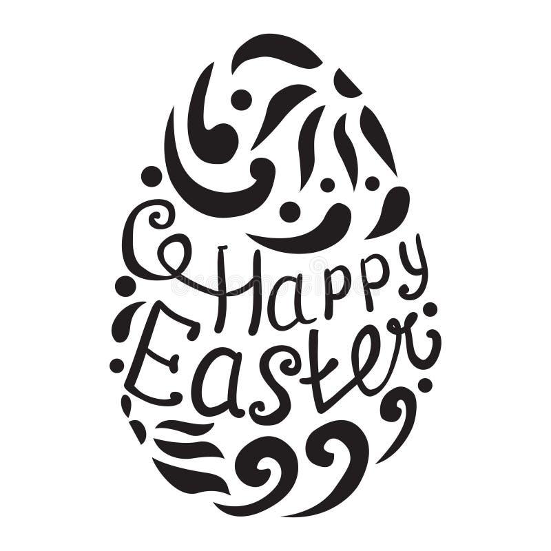 Szczęśliwy Wielkanocnego jajka literowanie na białym tle ilustracji