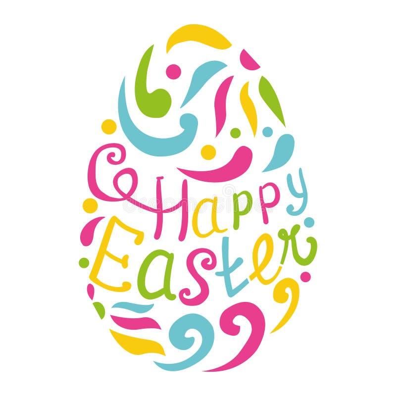 Szczęśliwy Wielkanocnego jajka literowanie na białym tle royalty ilustracja