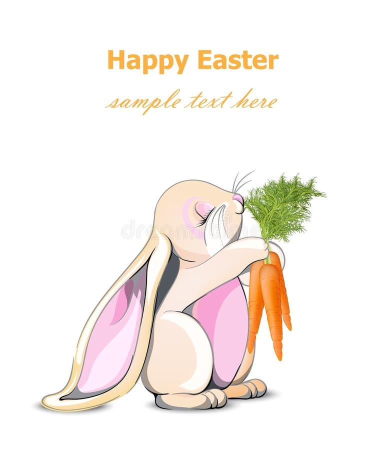 Szczęśliwy Wielkanocnego królika karty wektor Śliczny królika mienia marchewek postać z kreskówki royalty ilustracja