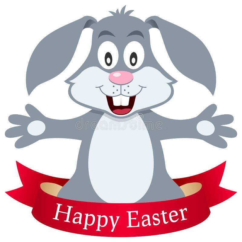Szczęśliwy Wielkanocnego królika królik z faborkiem royalty ilustracja