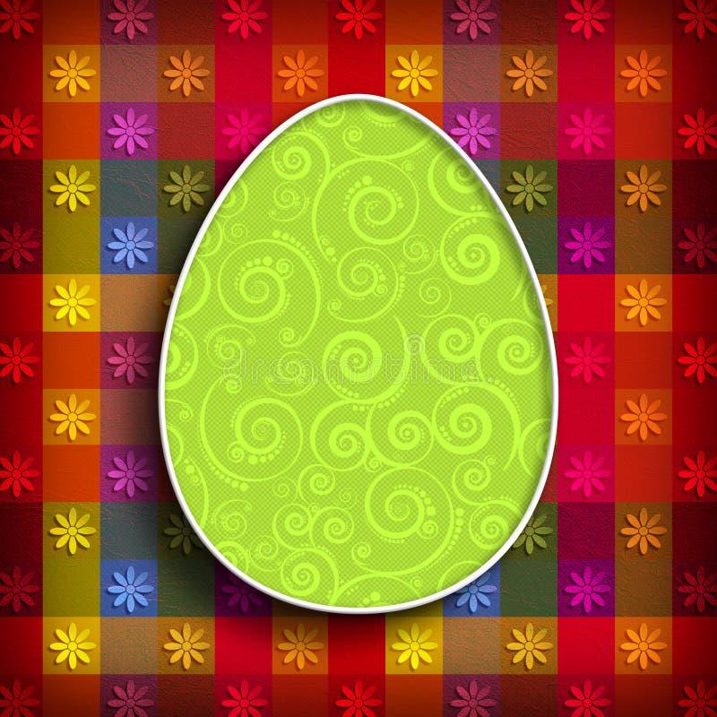 Szczęśliwy Wielkanocnej karty szablon - wzorzysty jajko na barwionym tle ilustracja wektor