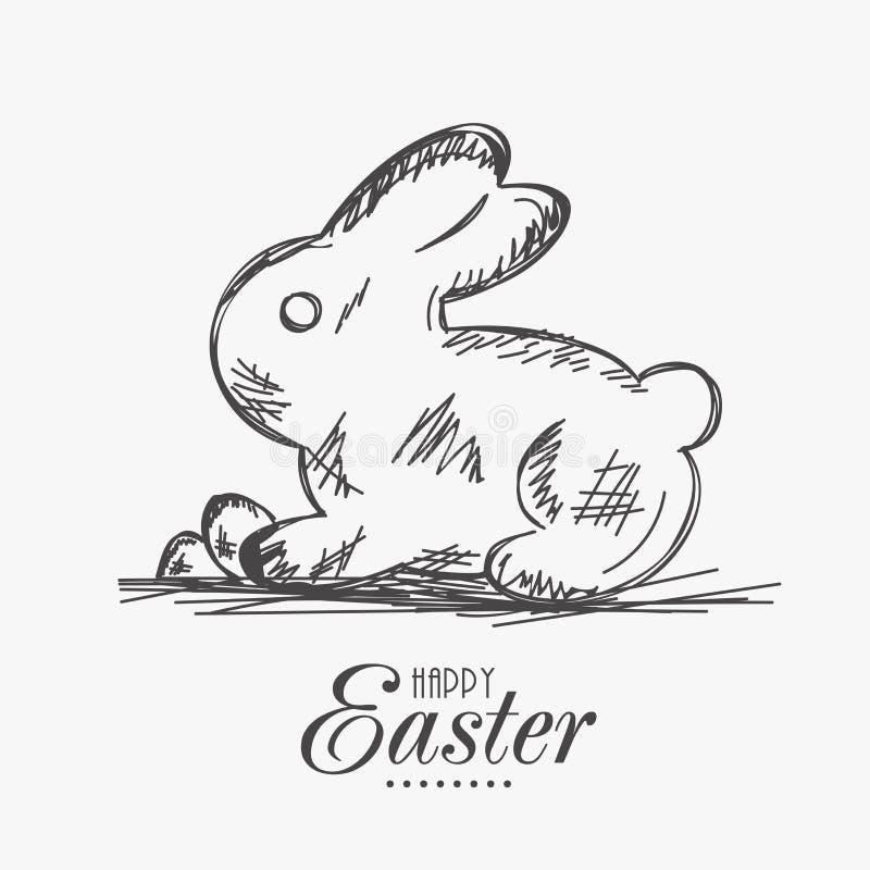Szczęśliwy Wielkanocny świętowanie z ślicznym królika nakreśleniem ilustracji