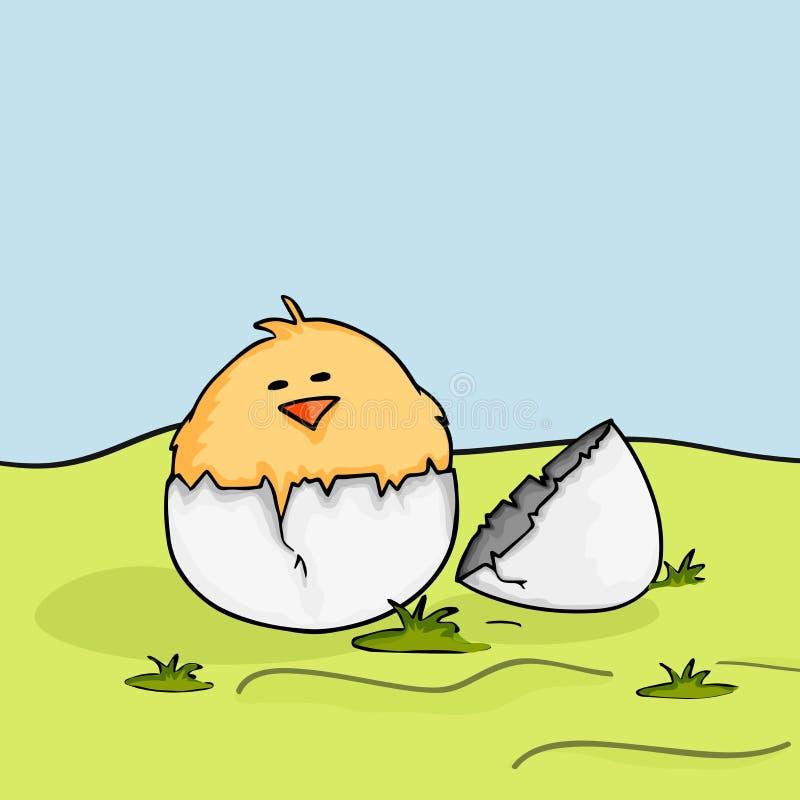 Szczęśliwy Wielkanocny świętowanie z ślicznymi kurczątkami ilustracji