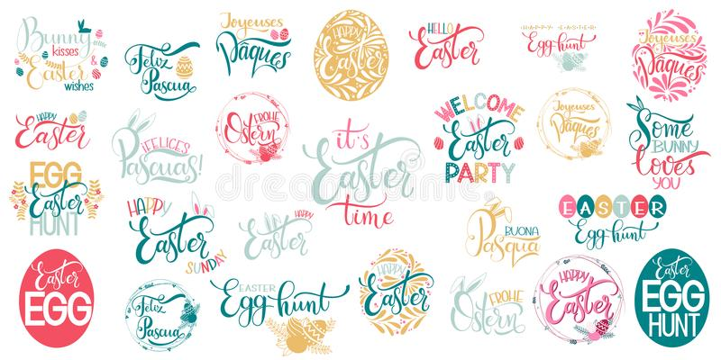 Szczęśliwy Wielkanocny duży literowanie set ilustracja wektor