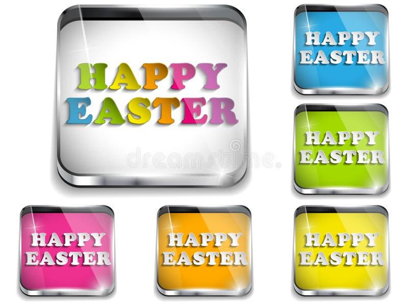 Szczęśliwy Wielkanocny Glansowany Podaniowy guzik ilustracji