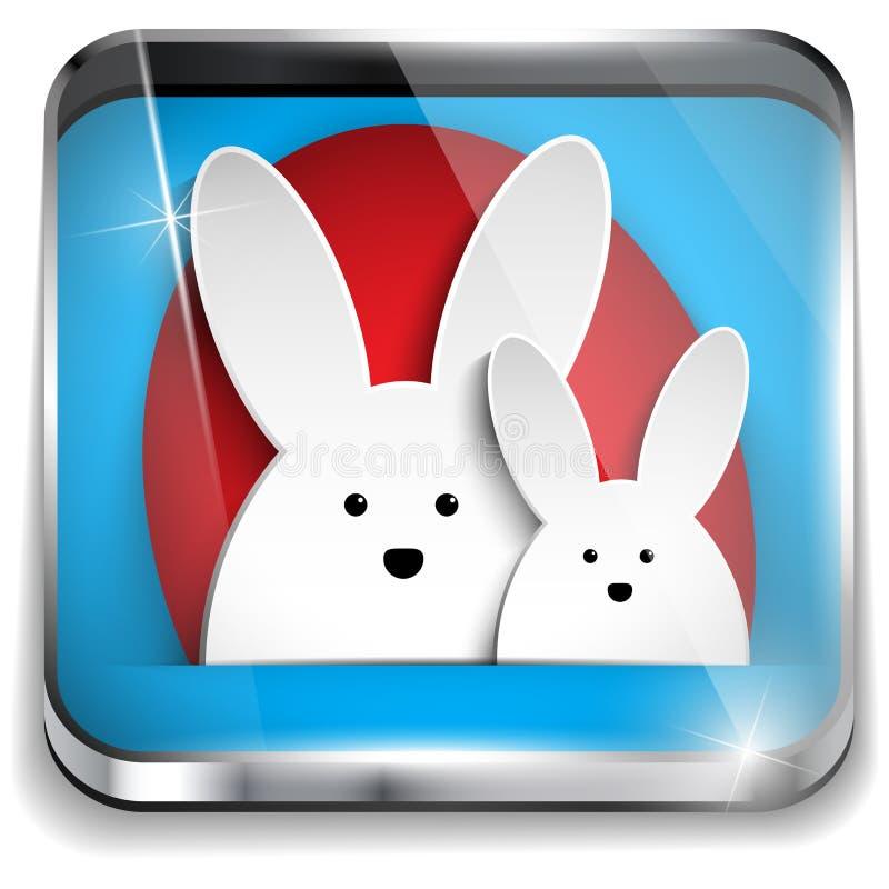 Szczęśliwy Wielkanocny Glansowany Podaniowy guzik royalty ilustracja