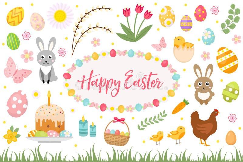 Szczęśliwy Wielkanocny inkasowy przedmiot, projekta element wiosna ustawiająca z tortem, kosz, jajka, królik, kwiaty, gniazdownik royalty ilustracja