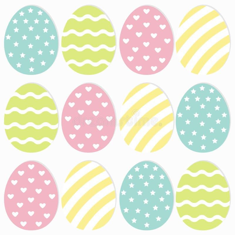 Szczęśliwy Wielkanocny jajko Malujący obraz skorupy set Lekkiego koloru Bezszwowa linia paskująca, serce, gwiazdowego kształta wz ilustracja wektor