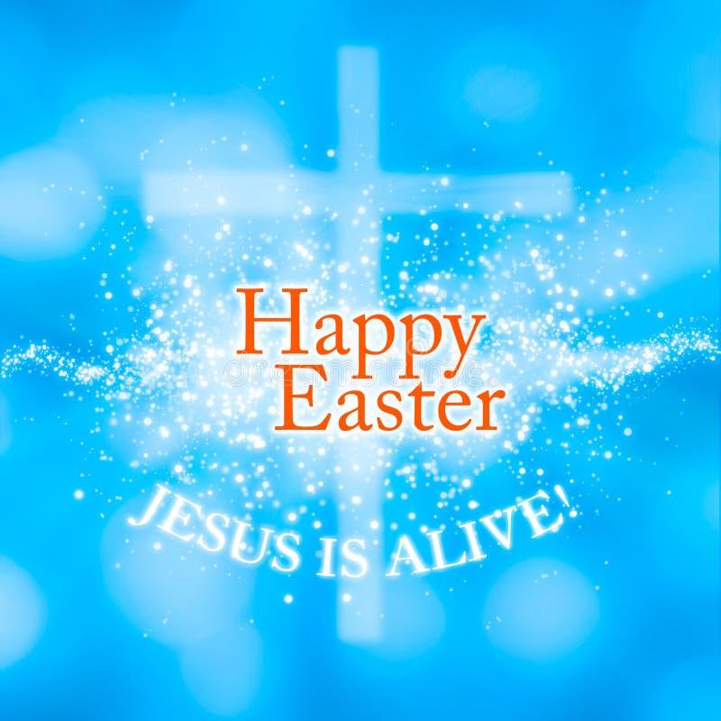 Szczęśliwy Wielkanocny Jezus jest żywym kartka z pozdrowieniami ilustracji