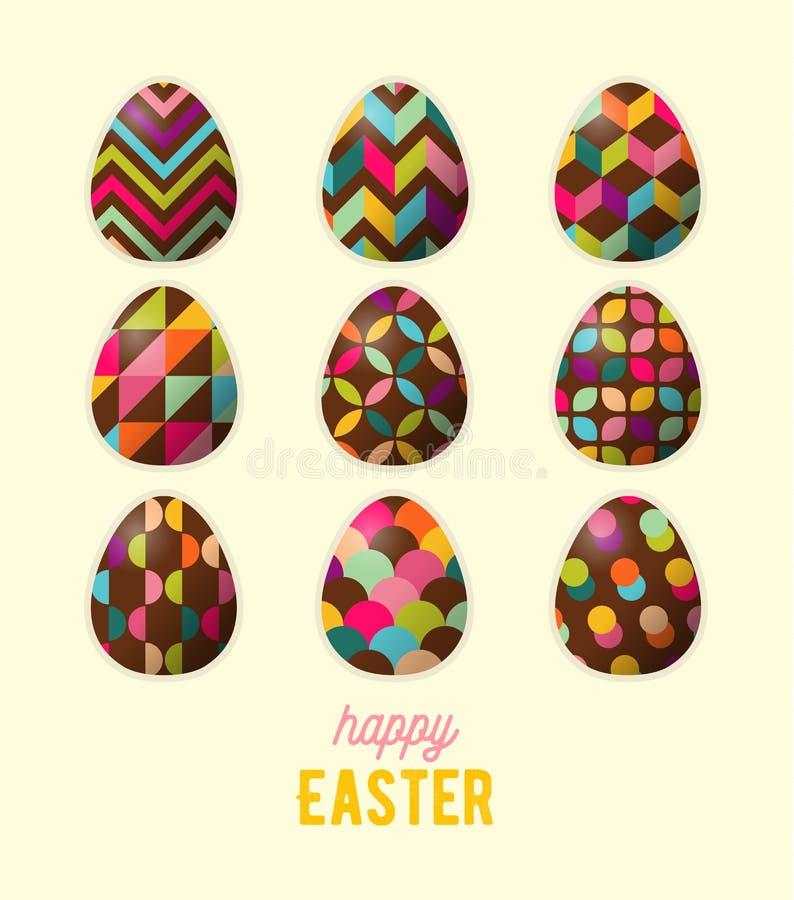 Szczęśliwy Wielkanocny kartka z pozdrowieniami Abstrakcjonistyczny geometryczny zdobny Easter jajko ilustracji