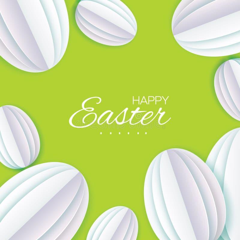 Szczęśliwy Wielkanocny kartka z pozdrowieniami Białego papieru rżnięty Wielkanocny jajko Przestrzeń dla teksta Origami Owalny ksz royalty ilustracja