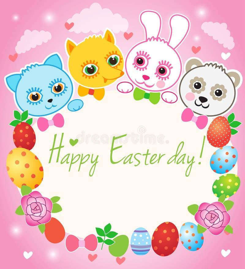 Szczęśliwy Wielkanocny kartka z pozdrowieniami Czarodziejska kreskówka ilustracji