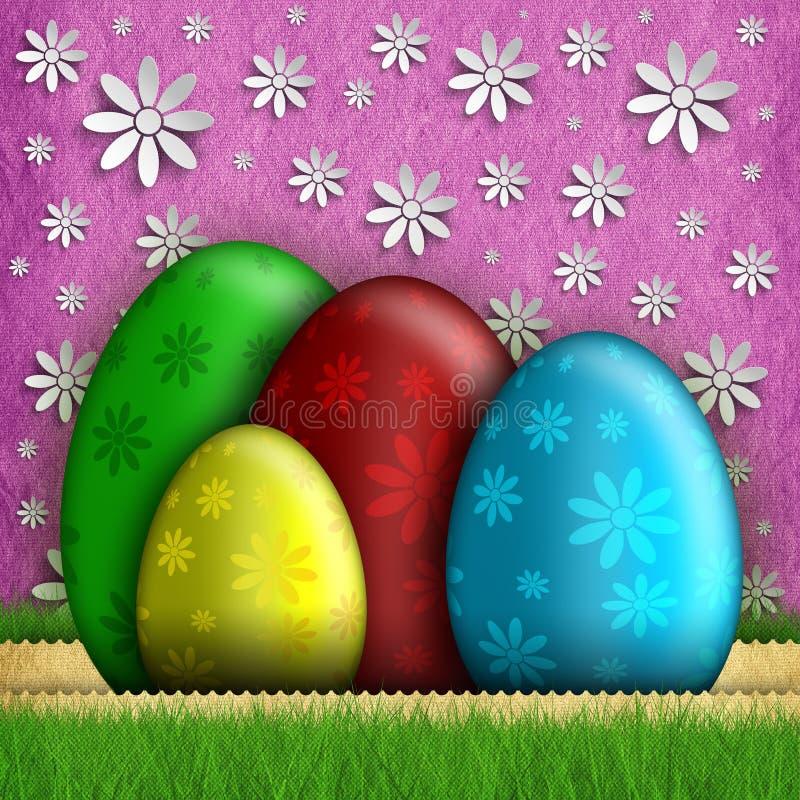 Szczęśliwy Wielkanocny kartka z pozdrowieniami - jajka i kwiaty ilustracja wektor