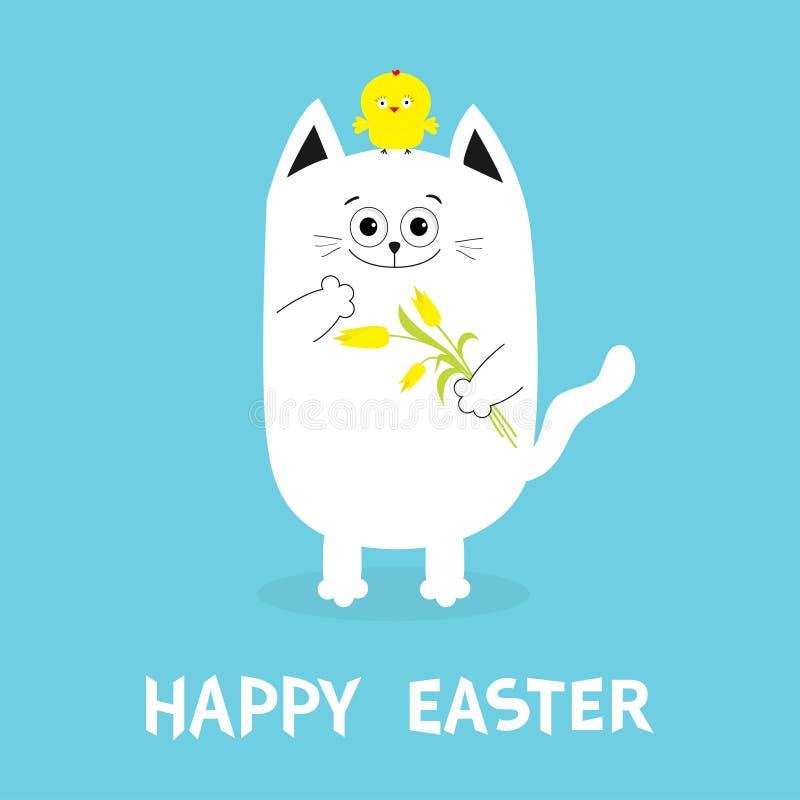Szczęśliwy Wielkanocny kartka z pozdrowieniami Kota mienia kurczaka i kwiatu ptaka żółty tulipanowy set Dziecko pisklęcy ptasi pr ilustracji