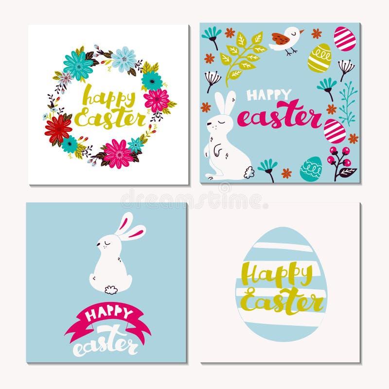 Szczęśliwy Wielkanocny kartka z pozdrowieniami z królikiem, wzorem i tekstem, Ręka rysująca piszący list ilustrację ilustracja wektor