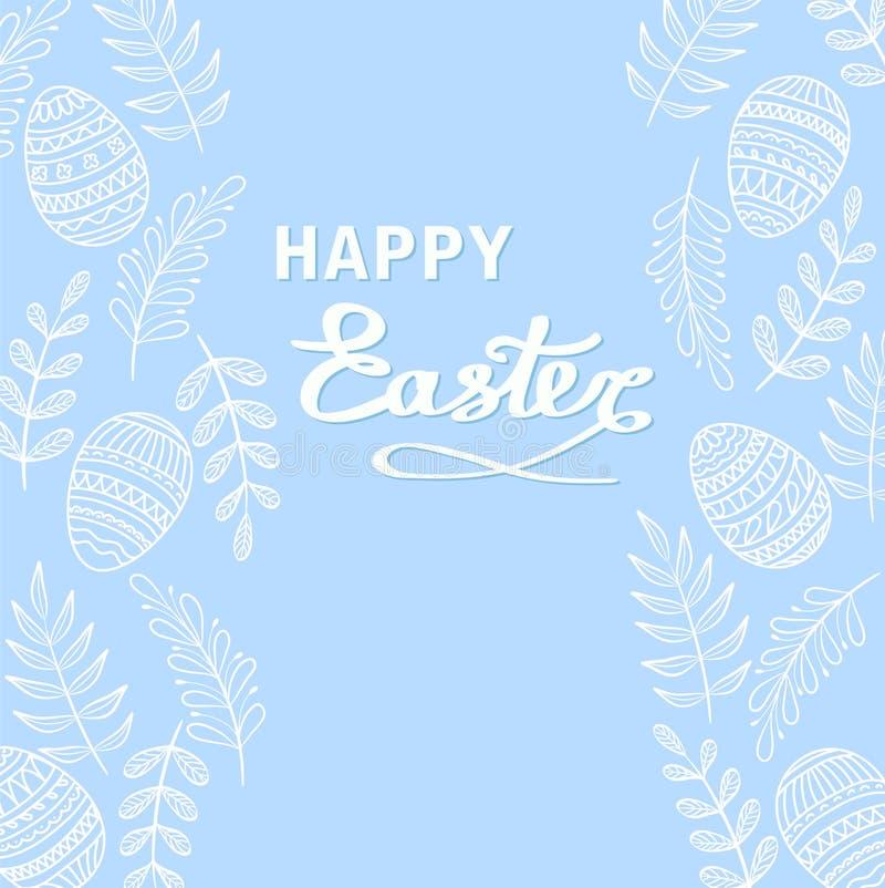 Szczęśliwy Wielkanocny kartka z pozdrowieniami z kwiecistymi elementami, gałąź i dr, ilustracji