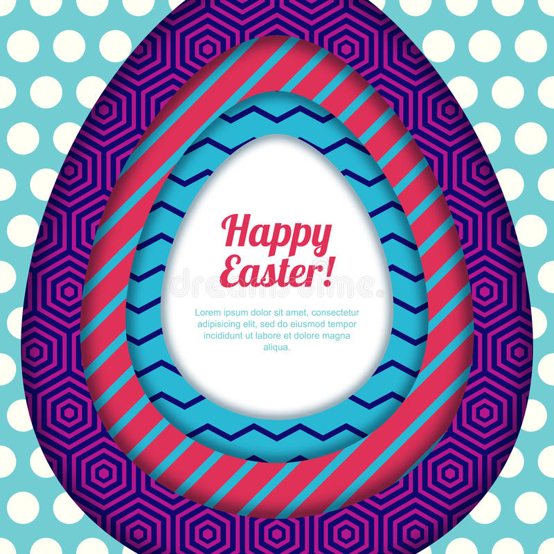 Szczęśliwy Wielkanocny kartka z pozdrowieniami, sztandar lub plakatowy projekta szablon, Kolorowy papier z geometrycznym tekstury