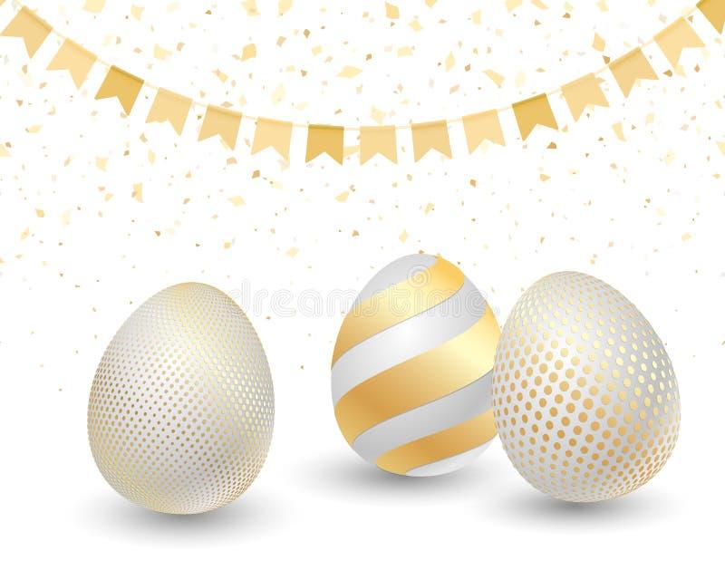 Szczęśliwy Wielkanocny kartka z pozdrowieniami z Złotymi jajkami ilustracja wektor