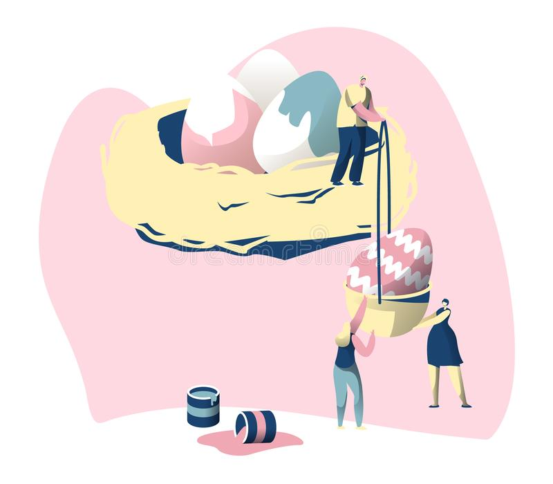 Szczęśliwy Wielkanocny Kolorowy plakat Śliczny mężczyzny i kobiety charakter Broguje w górę Dekoruje obrazu jajko w Gniazdową Tra ilustracja wektor