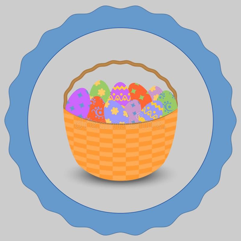 Szczęśliwy Wielkanocny kosz z Easter jajkami zdjęcia royalty free