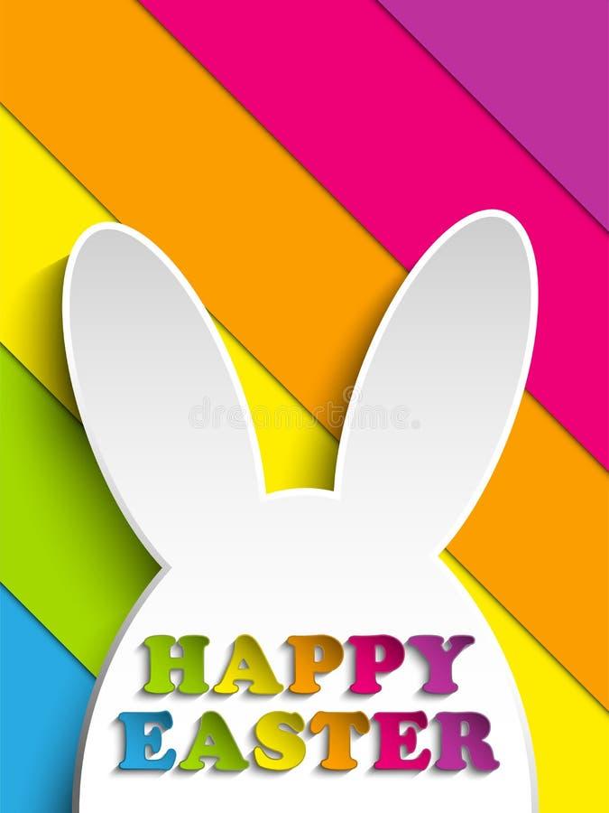 Szczęśliwy Wielkanocny królika królik na tęczy tle royalty ilustracja