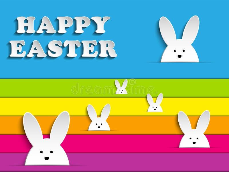 Szczęśliwy Wielkanocny królika królik na tęczy tle ilustracja wektor
