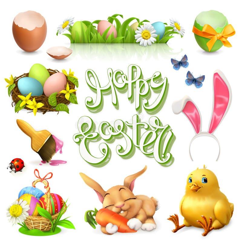 Szczęśliwy Wielkanocny literowania i wektoru ikony set royalty ilustracja