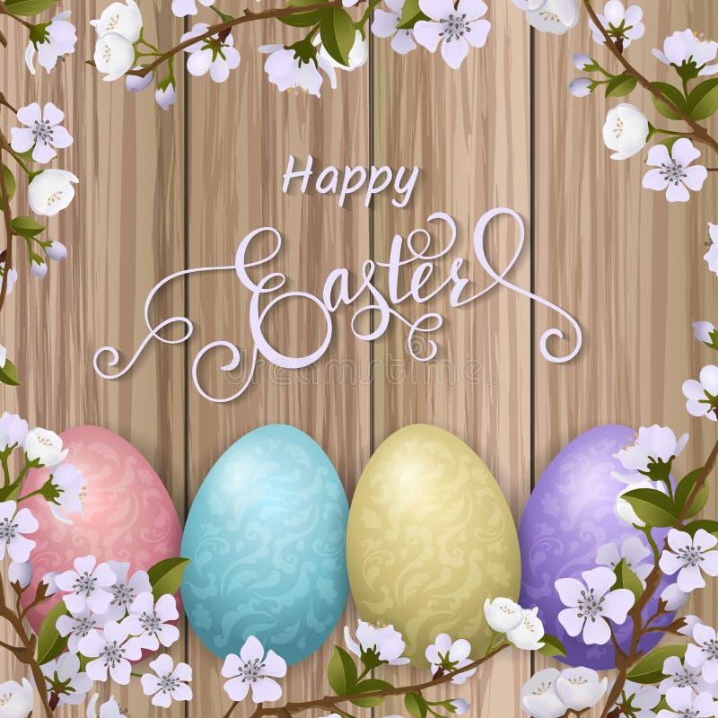 Szczęśliwy Wielkanocny literowanie, malujący kolorowi jajka Wiosna wakacje, Wielkanocny tło, okwitnięcia drzewo ilustracji