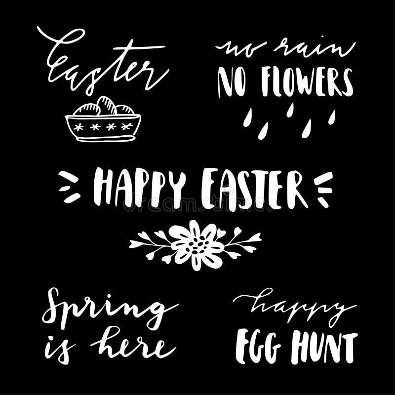 Szczęśliwy Wielkanocny literowanie set Ręcznie pisany kred wycena dla kartka z pozdrowieniami, prezent etykietki Typografii kolek royalty ilustracja