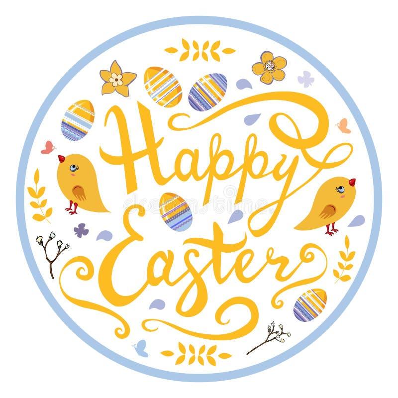 Szczęśliwy Wielkanocny literowanie z ptakami, jajkami, ziele i kwiatami w okręgu odizolowywającym na białym tle, royalty ilustracja