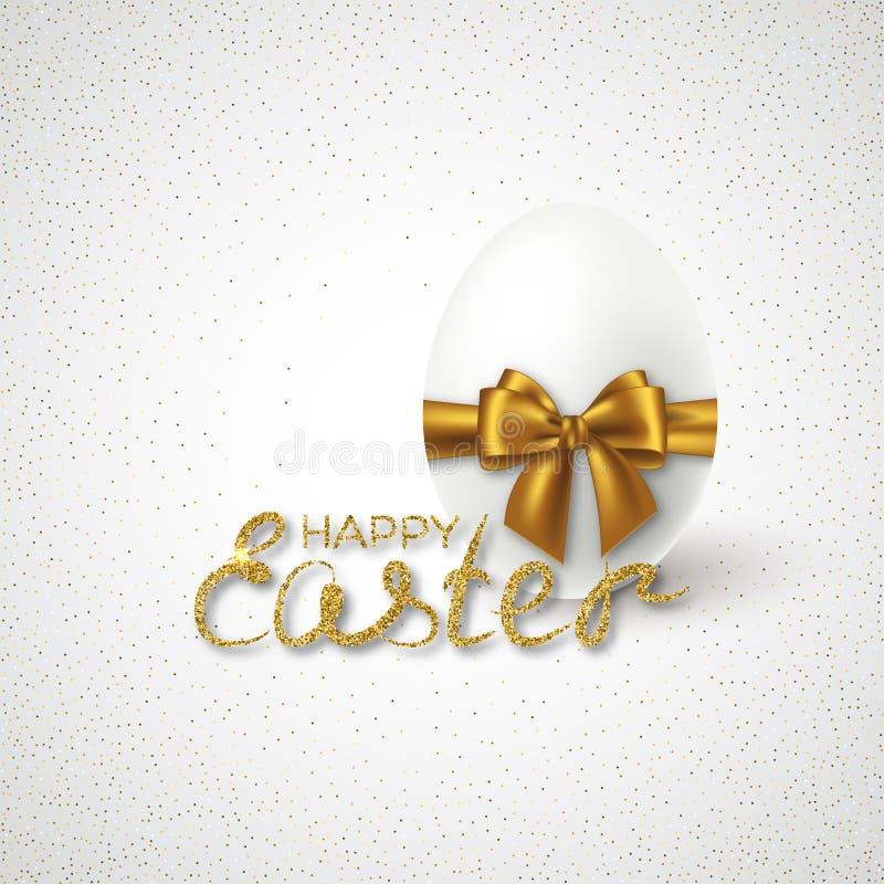 Szczęśliwy Wielkanocny literowanie z Realistycznym 3D jajkiem ilustracja wektor