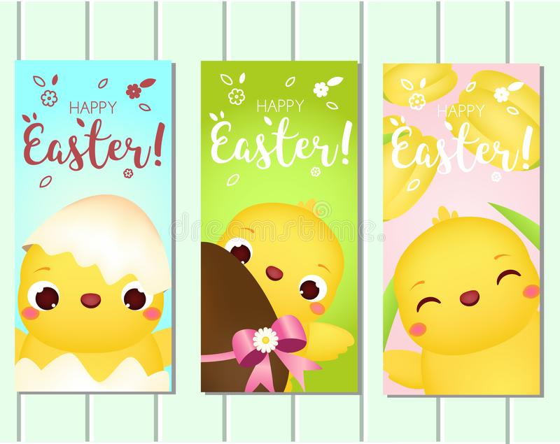 Szczęśliwy Wielkanocny Pionowo sztandar Śliczni kreskówka kurczaki z jajkami i kwiatami Szablon kolekcja dla wiosna sezonowego pr royalty ilustracja