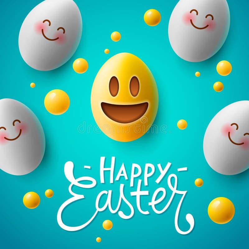 Szczęśliwy Wielkanocny plakat, Easter jajka z ślicznym uśmiechniętym emoji stawia czoło, wektor ilustracja wektor