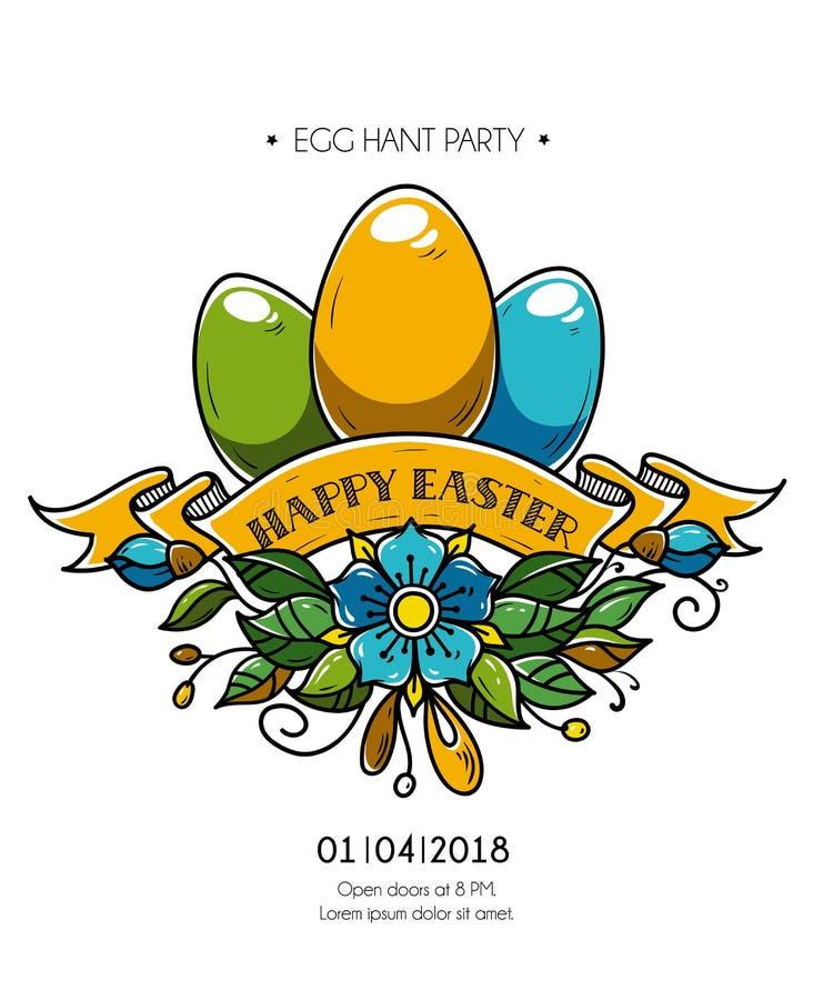 Szczęśliwy Wielkanocny plakat Wakacyjni jajka dekorujący faborek i kwiaty Szczęśliwy Wielkanocny zaproszenie bawić się Święta ucz royalty ilustracja