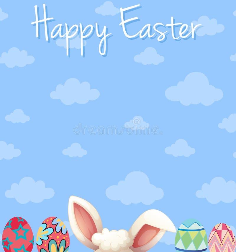 Szczęśliwy Wielkanocny plakatowy projekt z jajkami i niebieskim niebem royalty ilustracja