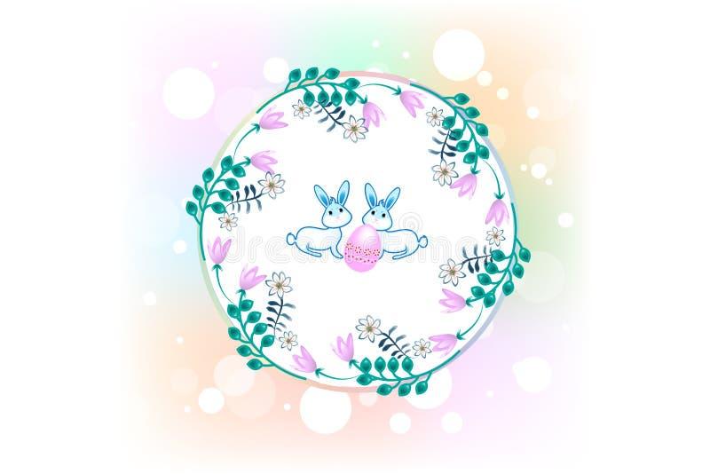 Szczęśliwy Wielkanocny powitanie karty wianku ikony logo tło royalty ilustracja