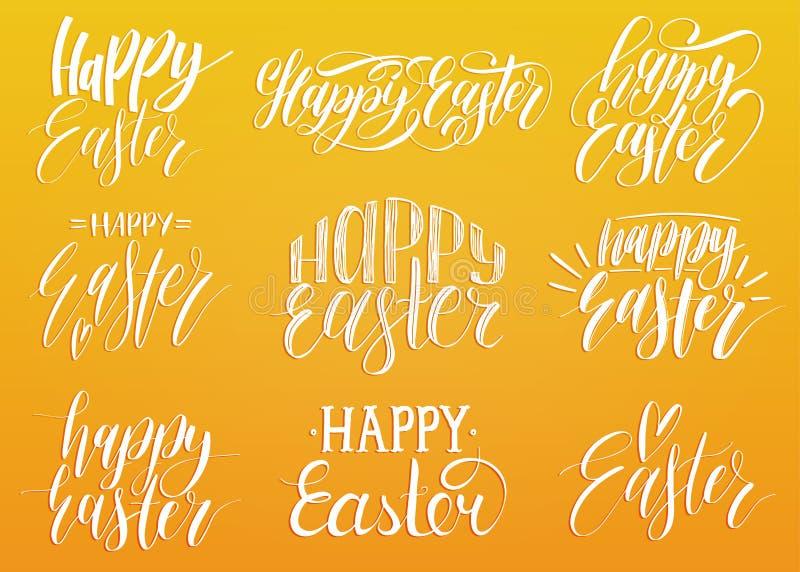 Szczęśliwy Wielkanocny ręcznie pisany literowanie set Religijna kaligrafii kolekcja na żółtym tle dla kartka z pozdrowieniami, et royalty ilustracja