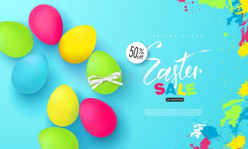 Szczęśliwy Wielkanocny sprzedaż sztandar Tło z pięknymi kolorowymi jajkami Wektorowa ilustracja dla plakatów, talony, promocyjni royalty ilustracja