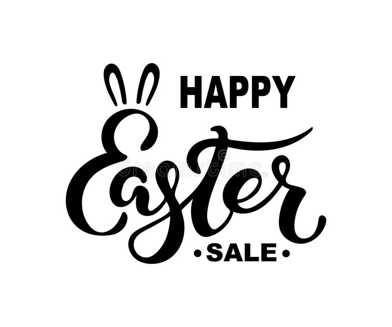 Szczęśliwy Wielkanocny sprzedaż tekst odizolowywający na tle ilustracja wektor