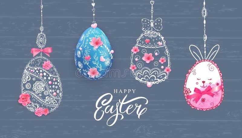 Szczęśliwy Wielkanocny sztandar z ręką rysującą kwitnie, jajko na drewnianym tle ilustracji