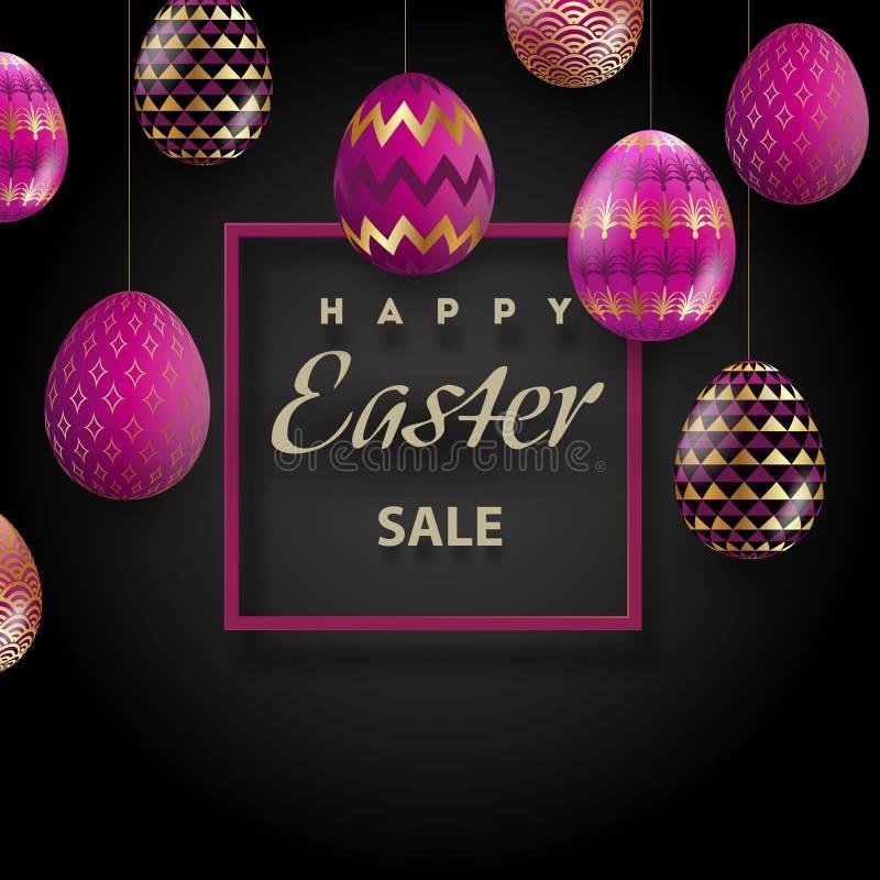 Szczęśliwy Wielkanocny tło z realistycznymi złotymi dekorującymi jajkami Kartka z pozdrowieniami modny projekt Zaproszenie szablo royalty ilustracja