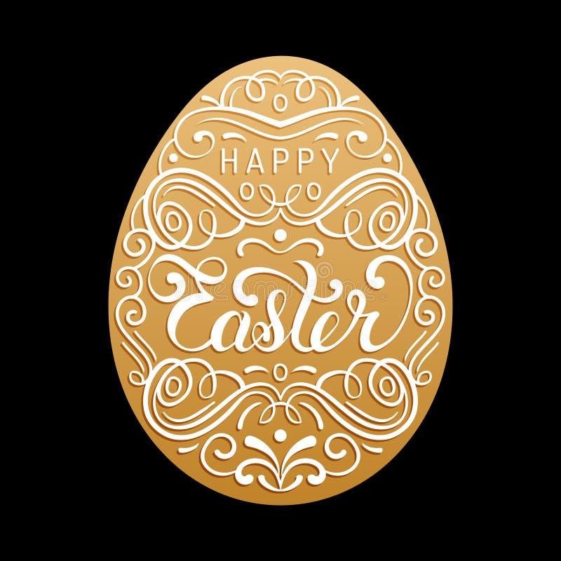 Szczęśliwy Wielkanocny typ kartka z pozdrowieniami w jajecznym kształcie Święta religijne wektorowa ilustracja dla plakata, ulotk ilustracja wektor