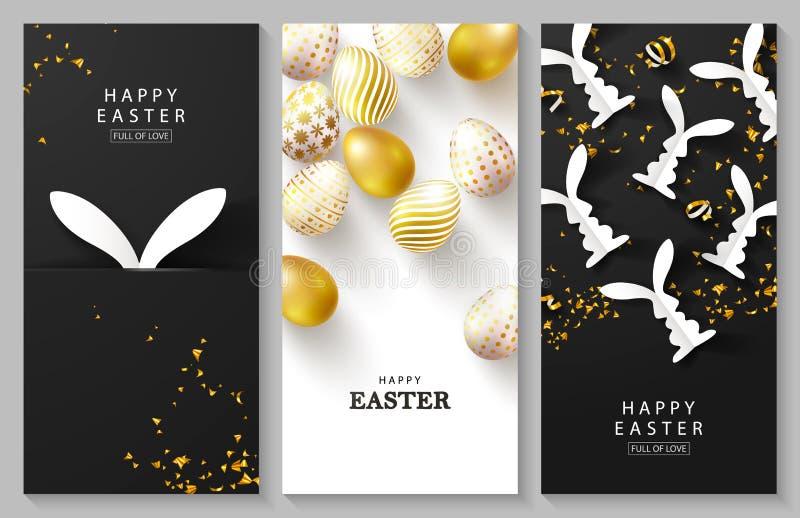 Szcz??liwy Wielkanocny Ustawiaj?cy pionowo karty Pi?kny t?o z z?otymi jajkami, papierowymi kr?likami i serpentyn?, wektor ilustracja wektor