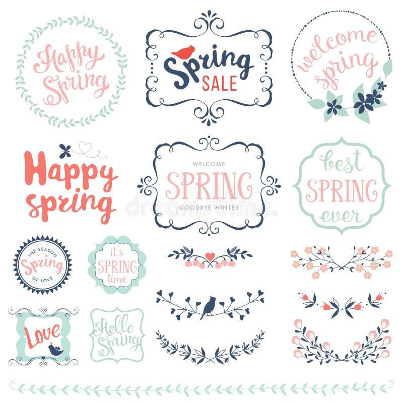 Szczęśliwy wiosna set zdjęcia royalty free