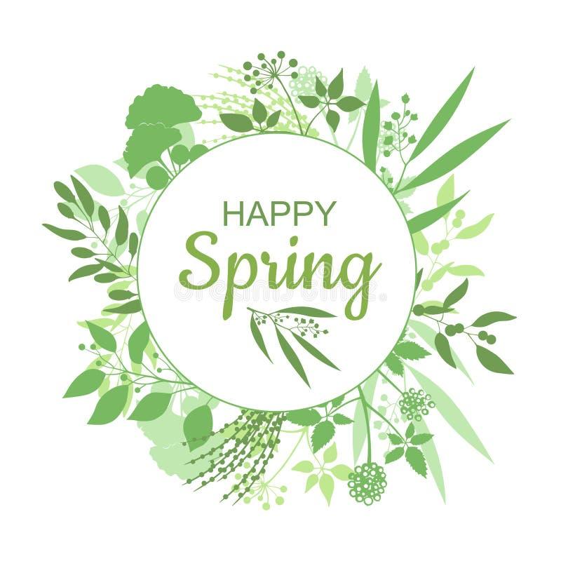 Szczęśliwy wiosny zielonej karty projekt z tekstem w round kwiecistej ramie ilustracja wektor