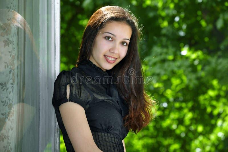 szczęśliwy wzorcowy portret zdjęcie stock