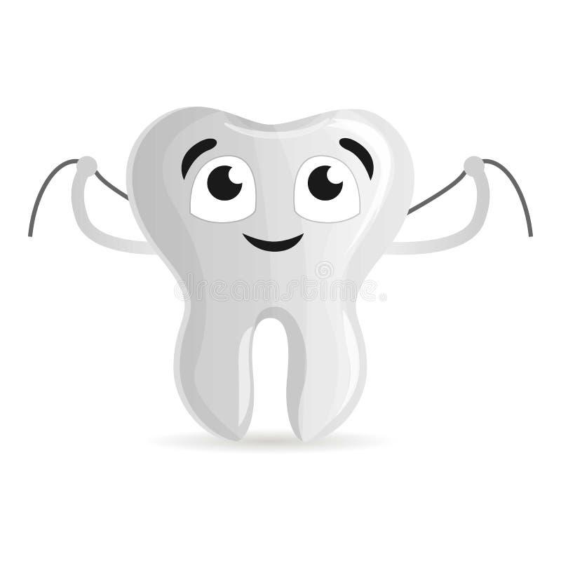 Szczęśliwy ząb z floss ikoną, kreskówka styl ilustracji
