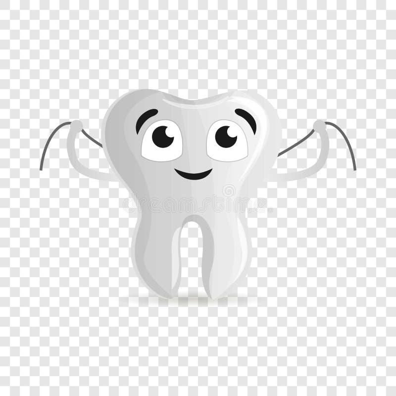 Szczęśliwy ząb z floss ikoną, kreskówka styl ilustracja wektor