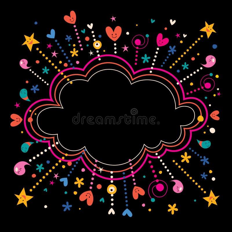 Szczęśliwy zabawy gwiazdy wybuchów kreskówki chmury kształta sztandaru ramy tło ilustracji
